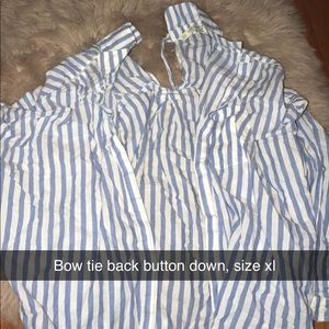 Bow tie back button down shirt